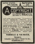 <p>Copyright advertisement from the New York Clipper, 1906.</p>
