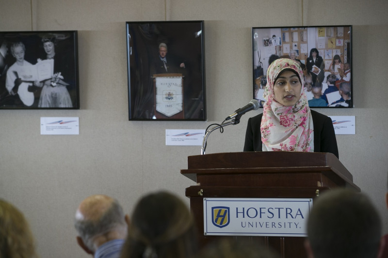 <p>Sophomore student, Fatimah Mozawalla during a talk on islamophobia. </p>