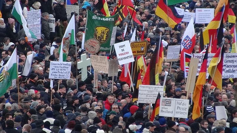 <p>Manifestación de Pegida en Dresde, en enero de 2015.</p>
