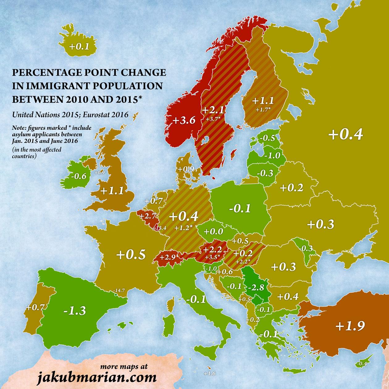 <p>Cambio porcentual de la población inmigrante entre 2010 y 2015.</p>
