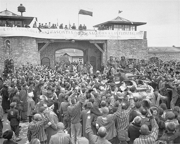 <p>Liberación del campo de concentración de Mauthausen en 1945.</p>