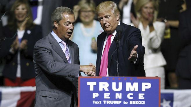 <p>Nigel Farage y Donald Trump durante un mitin en Jackson, Mississippi</p>