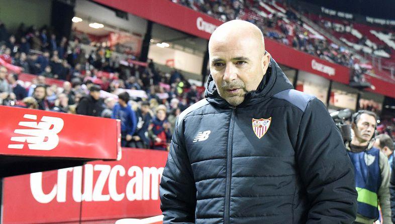 <p>Jorge Sampaoli, al comienzo del partido contra el SD Formentera.</p>