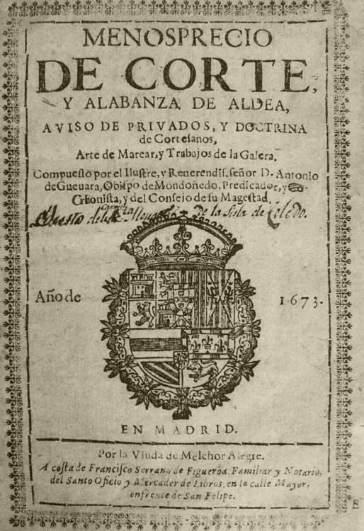 <p><em>Menosprecio de corte y alabanza de aldea</em>, de Antonio de Guevara.</p>