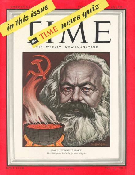 <p>Portada de la revista Time dedicada a Marx, febrero 1948.</p>