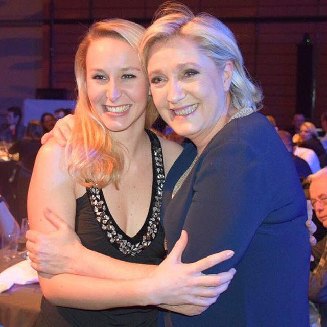 <p>Marion Maréchal Le Pen y Marine Le Pen, en el lanzamiento de la campaña presidencial del FN a principio de febrero en Lyon</p>