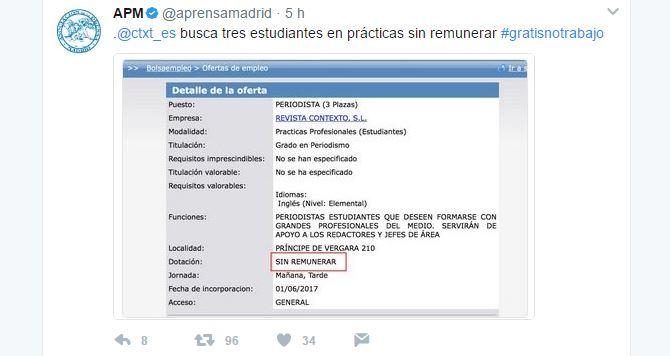 <p>Captura de pantalla del tweet de la APM.</p>
