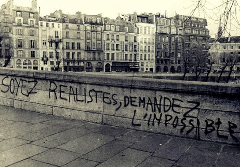 <p>Seamos realistas, pidamos lo imposible, de Herbert Marcuse , se convirtió en un lema del Mayo francés.</p>