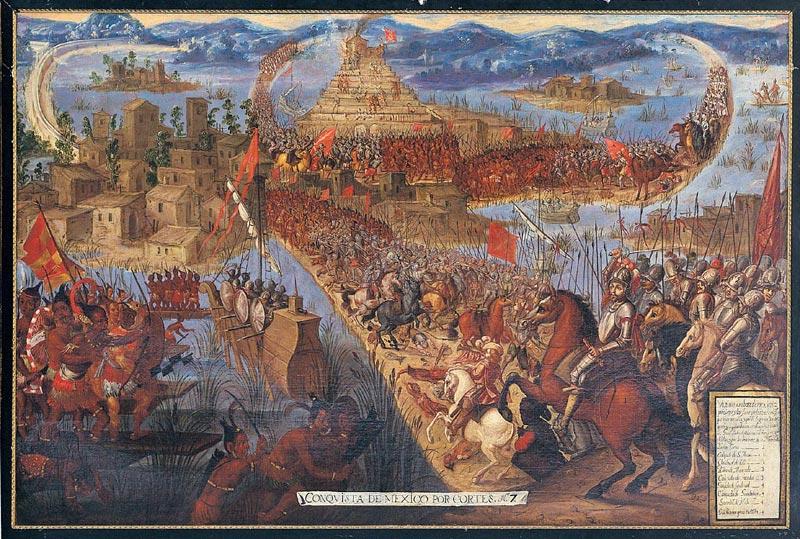 <p>La conquista de Tenochtitlán. Óleo del siglo XVII. Autor desconocido.</p>