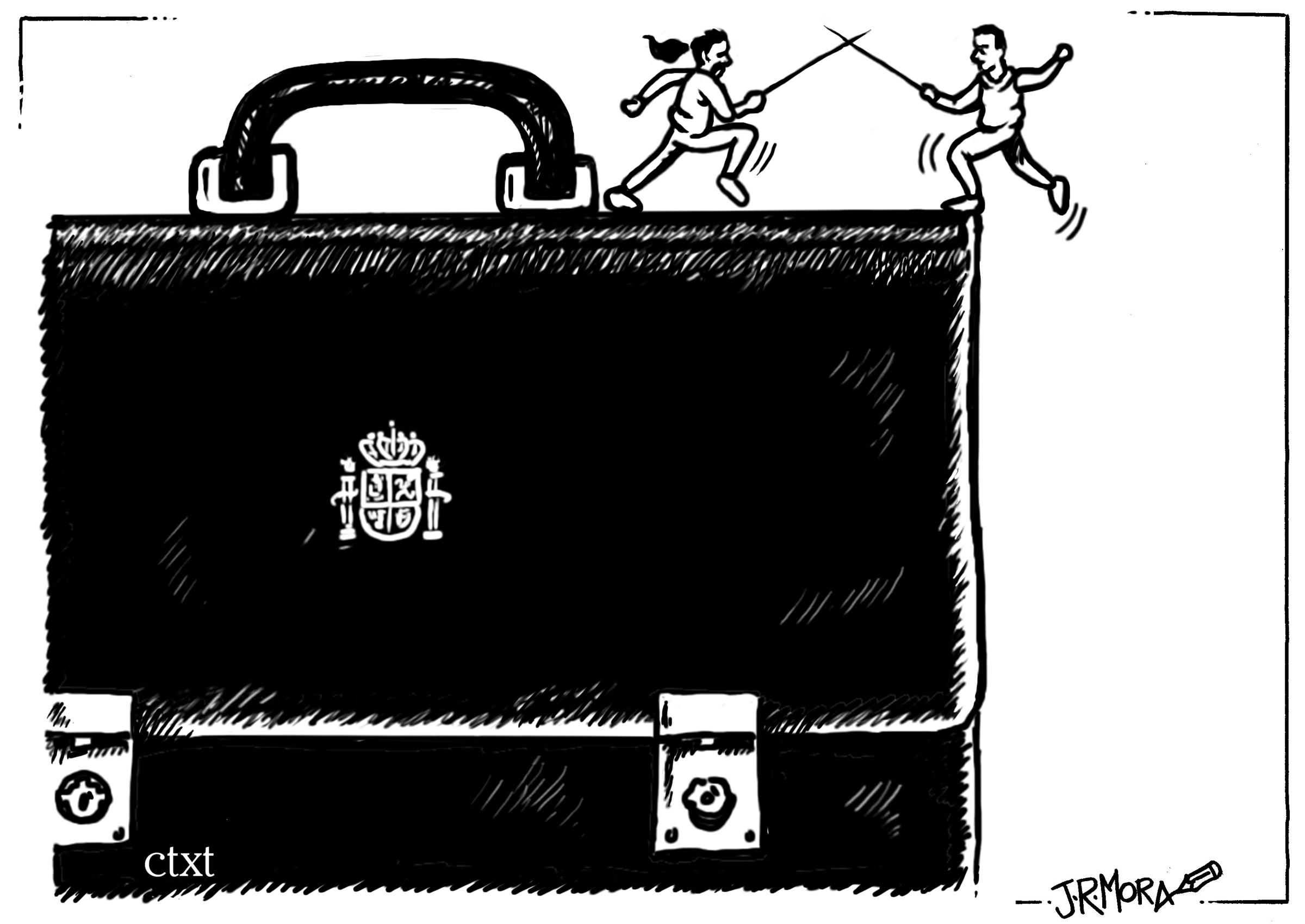 <p>Pablo Iglesias y Pedro Sánchez en las negociaciones.</p>