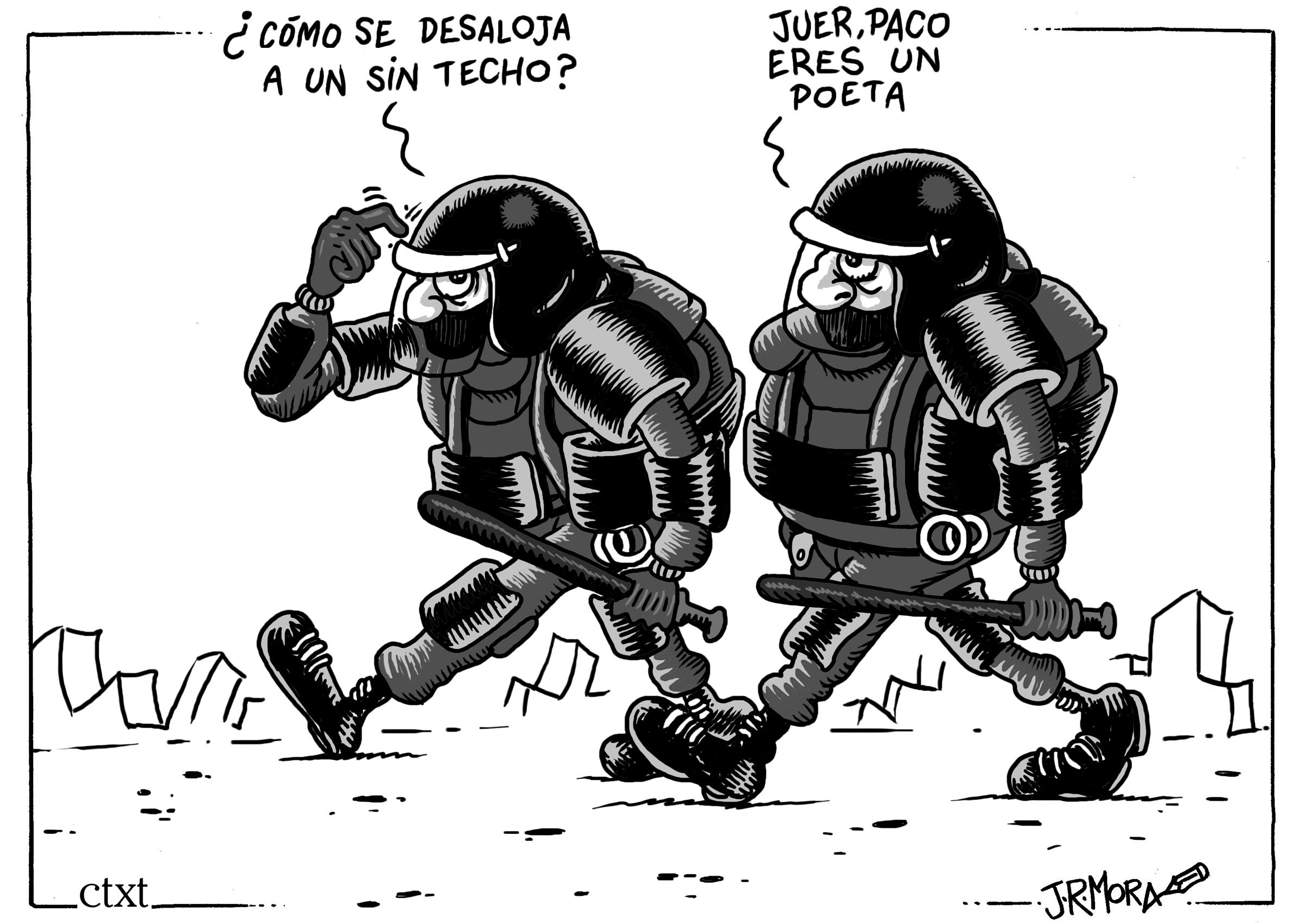 <p>La policía desaloja a los sin techo del paseo del Prado en Madrid.</p>