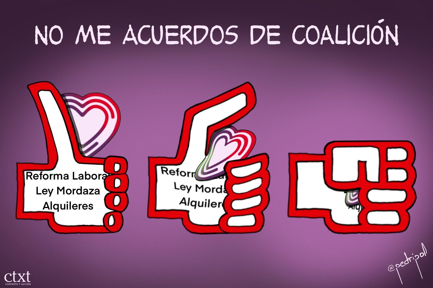 <p>PSOE, UP, acuerdos de coalición</p>